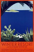 "Vintage Illustrated Travel Poster CANVAS PRINT Yugoslavia Riviera 24""X16"""