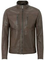 Hugo Boss C-Jentos Lamb Leather Biker Jacket , £549. Size M 38. Medium Brown