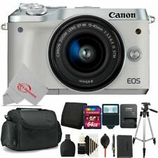 Canon EOS M6 Mirrorless Digital Camera White with 15-45mm + 64GB Accessory Kit