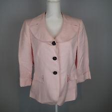 TAHARI BLAZER,Ladies SUIT Jacket,TOP SZ 12 pink linen blend 3/4 sleeve  r1