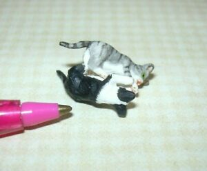 Miniature Teeny Pair of Wrestling Kittens (B/W and Grey Striped) DOLLHOUSE 1:12