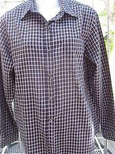 Evan Picone flannel blouse-sz 8-long sleeve button down-Black & White check