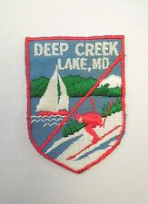 Vintage Souvenir Deep Creek Lake, Maryland Iron On Patch Sailboat & Skiing Image