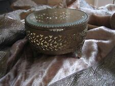 ANTIQUE VTG. COLLECTIBLE ORMOLU FILIGREE METAL BEVELED GLASS JEWELRY BOX