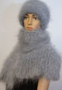 Set Scarf and Hat Downy Knitted 100% Goat Down Color Blue-Gray Girl Woman