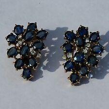 sapphire cluster diamond earrings 585 (14k) gold