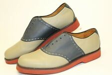 Cole Haan Country Mens 8 D Beige Navy Blue Leather Lace Up Saddle Oxfords Shoes
