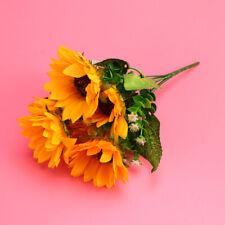 Realistic Sunflower Bunch 7-Bifurcation Artificial Sunflower for Garden Bedroom