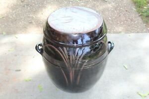 LARGE Korean Chinese Earthenware Pottery Bowl Lidded Vessel ONGGI Signed Brown 5
