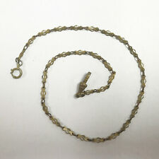 "Rare Link Chain Gold Tone 13"" e682 Antique Gold Filled Vest Pocket Watch"