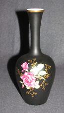 KL. Rosenthal Vase noir avec monture en Or Roses Motif