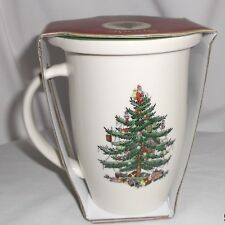 SPODE CHRISTMAS TREE PIMPERNEL MUG &  ROUND PORCELAIN COASTER LID SET NIB