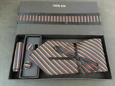 BNIB Mens 100% Pure Silk Multi Stripe Formal Tie Cufflinks & Kerchief Box Set