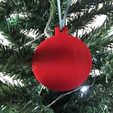 Rouge Boule en forme de décorations ARBRE DE NOËL, & vert ruban, Paquet 10