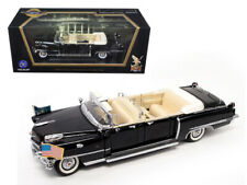 1956 Cadillac Series 62 Parade Limousine Black with Flags 1/24 Diecast Model Car