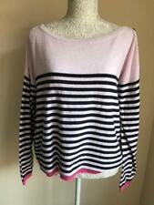 River island Womens Pink and Navy Blue Striped 100% Cotton Jumper Size 14 (020)