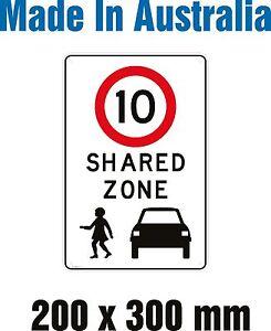 SHARED ZONE - SPEED LIMIT 10km/hr Rigid Plastic sign 200mm X 300mm