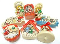 VINTAGE 1960s JAPAN 8 RUBBER CHRISTMAS TREE ORNAMENTS HOLIDAY DECORATIONS RETRO