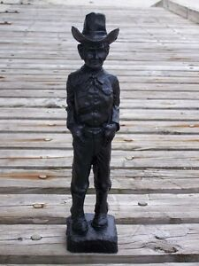 Cowboy Hand-Crafted Kentucky Coal Figurine ~ Folk Art ~ New