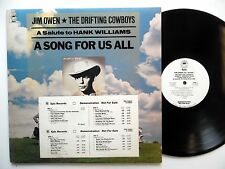 JIM OWEN A salute to Hank Williams 2LP A Song For Us All PROMO w/poster