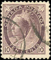 1898 Used Canada 10c F+ Scott #83 Queen Victoria Numeral Stamp