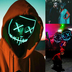 Halloween Light Up The Purge LED Stitches Mask Rave Party  Christmas Costume Ku