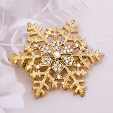 GOLD TONE CUT-OUT CZ DIAMANTE RHINESTONE CRYSTAL SNOWFLAKE  PARTY BROOCH PIN