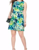 London Times A Line Shadow Floral Dress In Green N Blue 18W - Belt Not Included