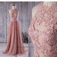 Rosa Tattoo-Effekt Blütenspitze Brautkleid Abendkleid Party Gr.32-46 Übergröße
