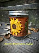 Handpainted Leather Mason Jar Sleeve, Painted Sunflower Gift, Gift for Her