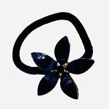 Flower Hair Rope Wrap Rhinestone Crystal Scrunchies Ponytail Holder Black F19