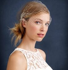 TWIGS & HONEY FOR J.CREW RHINESTONE BIRDCAGE VEIL IVORY SWAROVSKI CRYSTALS