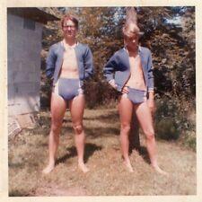 VINTAGE PHOTO SHIRTLESS MEN BULGE SPEEDO SWIMSUIT BEEFCAKE BUDDIES GAY INT