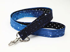 Sky Key Chain Galaxy Cute Fabric Neck Strap Galaxy ID Lanyards - stars at night