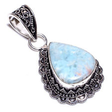 Caribbean Larimar .925 Silver Plated Hand Carving Pendant Jewelry L17