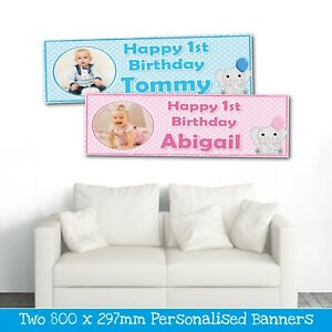2 PERSONALISED PHOTO BANNERS ALL OCCASIONS - 1ST BIRTHDAY PARTY BANNERS ANY NAME