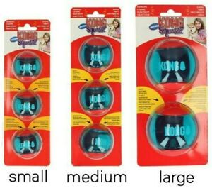 KONG Squeezz Action Balls Dog Ball Puppy Toy Squeaky Fetch Bouncy S/M/L 2&3 Pack