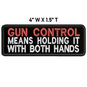 GUN CONTROL... Embroidered Patch Iron-On Sew-On Biker Decorative Applique
