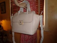 NWT TORY BURCH CLARA Pebbled Creamy ALMOND Leather SATCHEL $495 DUSTBAG