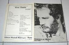 Spartito FRANCESCO DE GREGORI Viva l'Italia Songbook spartiti 1979