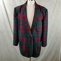 DonnyBrook Womens Wool Tartan Plaid Blazer Coat Women's size 14 Pink Green lined