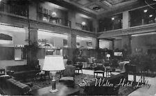 Raleigh NC~Only One In the City: Sir Walter Hotel~Lobby~1950 B&W Postcard