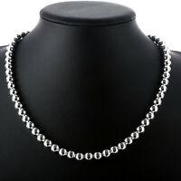 Collier en chaîne avec perles creuses en argent sterling 925 * 8 mm * 20 po N111