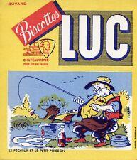 BUVARD PUBLICITAIRE / BISCOTTES LUC / CHATEAUROUX LE PECHEUR ET LE PETIT POISSON