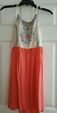 NWT JUNIORS CHELSEA & VIOLET EMBROIDERED SHIRRED BACK DRESS SIZE SMALL $64
