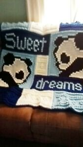 Crocheted Boy Baby Blanket Sweet Dreams Panda Bear Blue