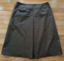 Lafayette 148 New York Brown Pleated Front Pockets A-Line Skirt Women's Size 10