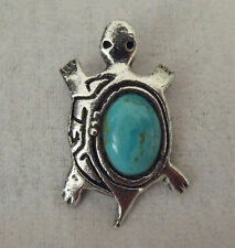 Vintage Handcrafted SIGNED JS .925 Sterling Silver TURQUOISE TURTLE Pendant
