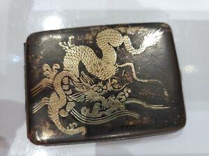 DRAGON ANTIQUE Japanese Komai  Damascene  K24 GOLD, MATCH Case / VESTA / SAFE