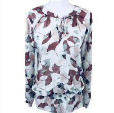 To The Max Sheer Long Sleeve Blouse Floral Top Women's Size S White Wine Red